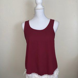 Love Culture Maroon Sleeveless Top With Back Slit